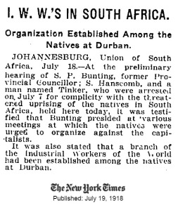 I.W.W.'s in South Africa - New York Times, 1918