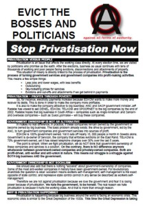 Evict the Bosses and Politicians: Stop Privatisation Now, BMC, 2001