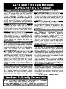 Land and Freedom through Revolutionay Unionism - WSF leaflet, English
