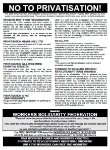 No to Privatisation! - WSF Leaflet