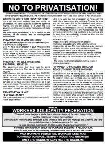 No to Privatisation! - WSF Leaflet