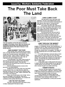 The Poor Must Take Back the Land - WSF leaflet