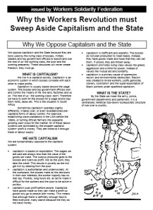 Workers Revolution must Sweep Aside Capitalism and the State - WSF Leaflet