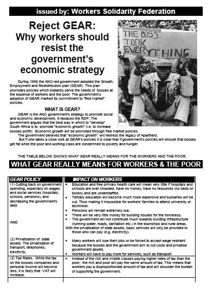 WSF leaflet: Reject GEAR: Resist the Governments Macro-Economic Strategy
