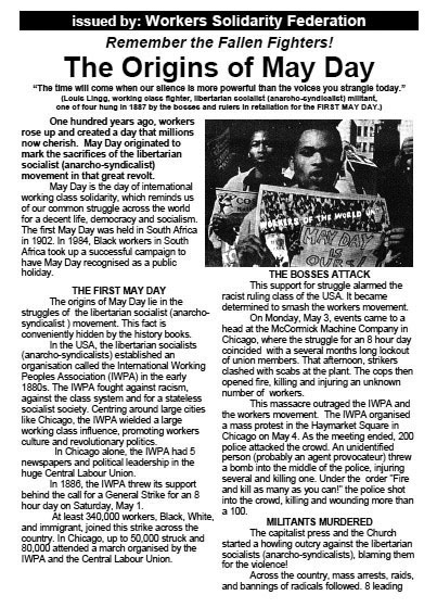 WSF leaflet: The Origins of May Day