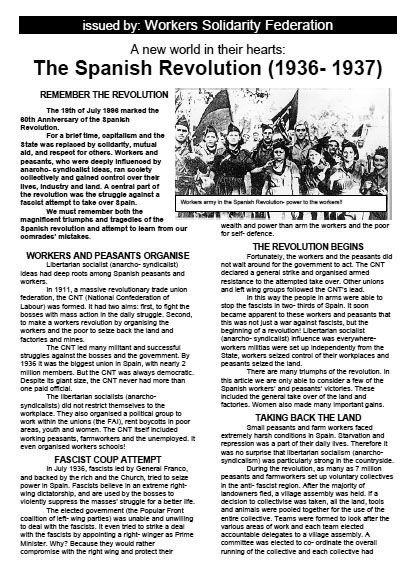 WSF leaflet: The Spanish Revolution (1936-37)