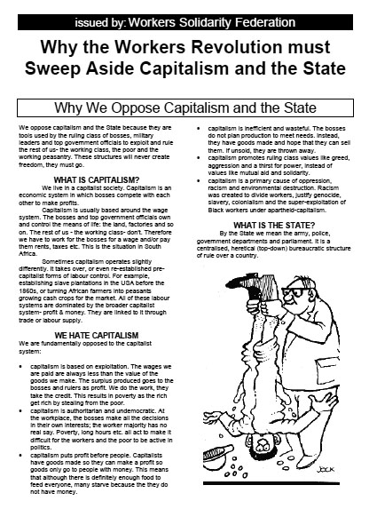 WSF leaflet: Why the Workers Revolution must Sweep Aside Capitalism and the State