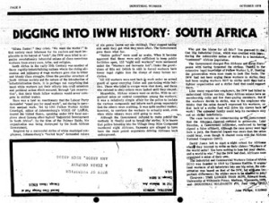 Digging into IWW History: South Africa, John Philips, Industrial Worker, October 1976