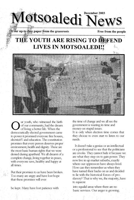 Cover Motsoaledi News Dec 2003