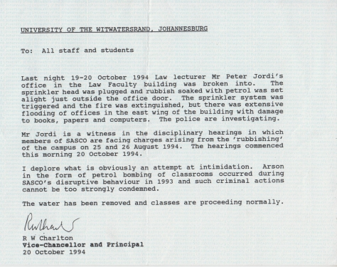 Wits 1994 notice