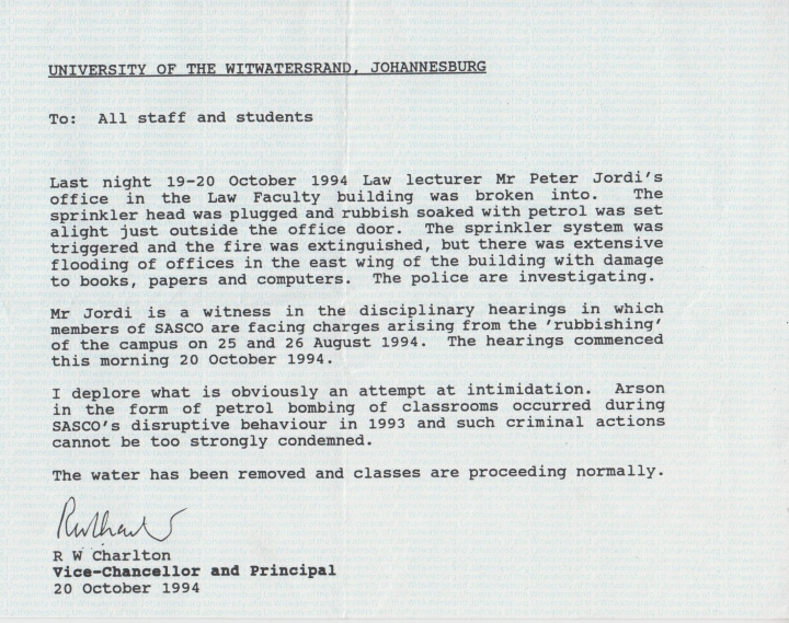 Wits 1994 notice