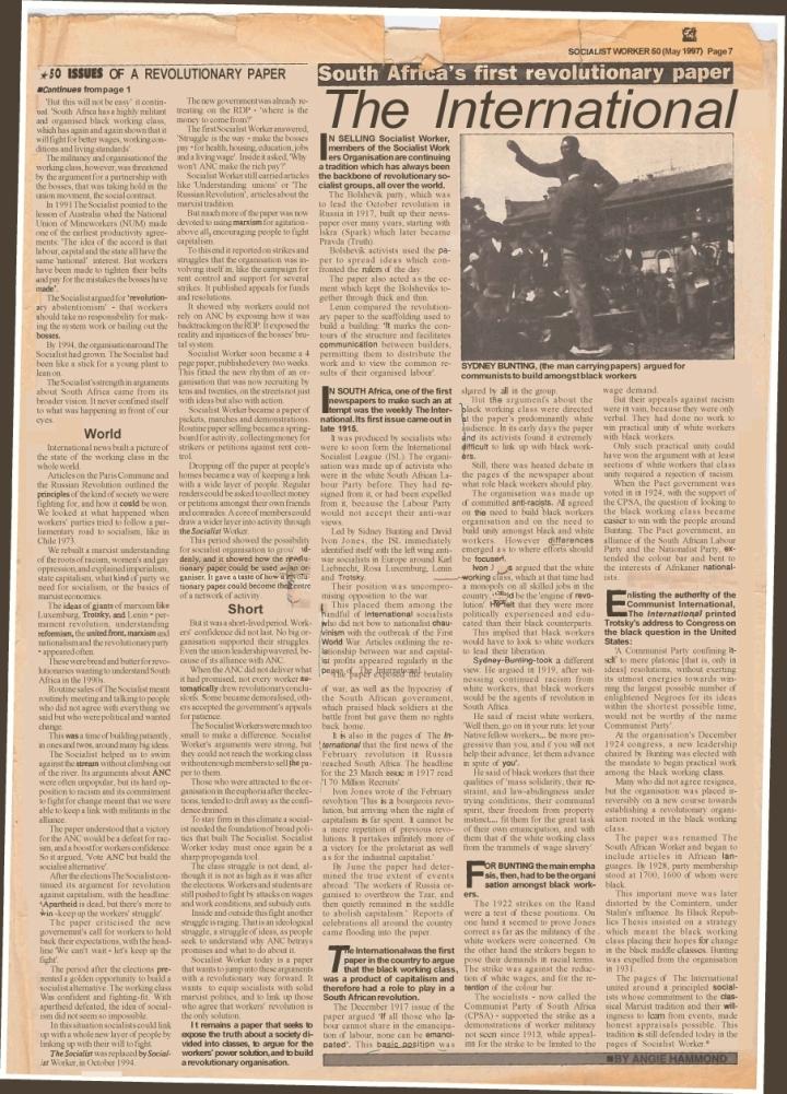 Hammond - The International (Socialist Worker SA 1997)