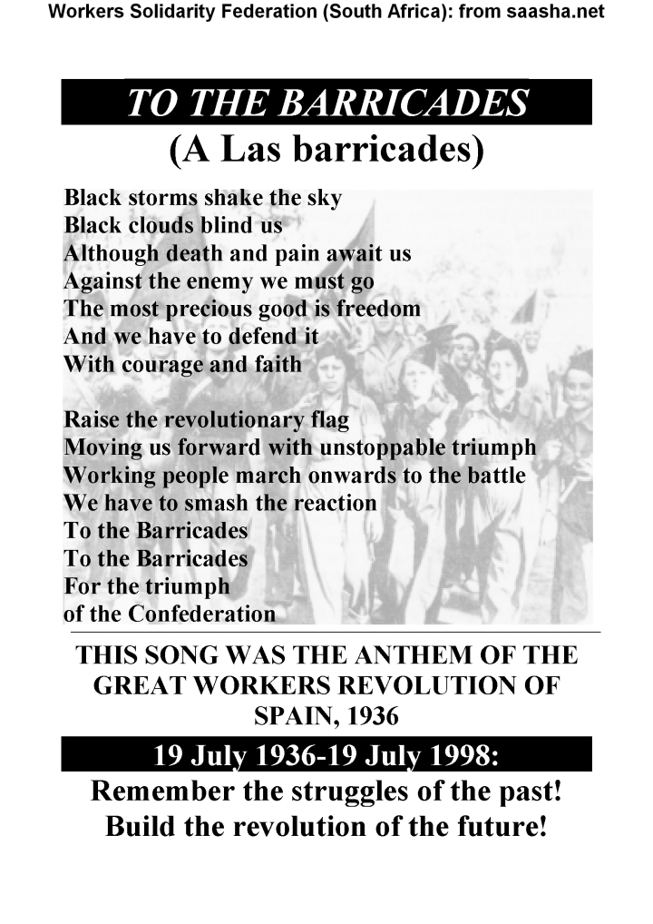 Poster WSF- to the barricades